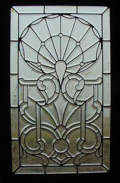 Antique American Zipper Cut Beveled Glass Window
