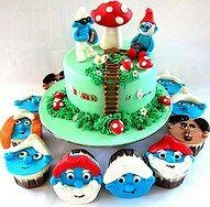 Smurfs Cake - w/ smurfs faces cupcakes