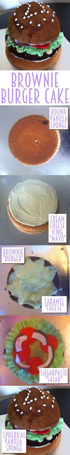 Brownie burger cake featuring cream cheese mayo, caramel cheese and sugarpaste salad, sandwiched in a vanilla sponge bun, yum!