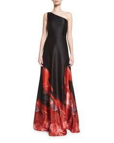 One-Shoulder+Ombre+Ball+Gown,+Black/Red+by+David+Meister+at+Neiman+Marcus.
