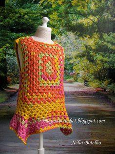 Magia do Crochet: Túnica de 4 pontas, versão colorida