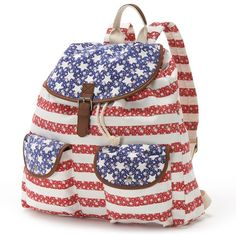 Candie's Floral American Flag Backpack (Red) ($25) ❤ liked on Polyvore