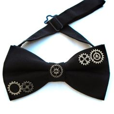 Steampunk black pre-tied bow-tie gift for gentleman by LiziRose