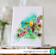 Card by Amy Sheffer. Reverse Confetti stamp set and coordinating Confetti Cuts: Toucan of Friendship. Friendship card. Birthday card. Encouragement card.