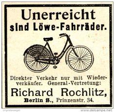 Original-Werbung/ Anzeige 1897 - LÖWE FAHRRÄDER / RICHARD ROCHLITZ - BERLIN - ca. 45 x 40 mm