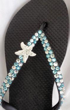 Starfish Rhinestone Swarovski Crystal Flip   Flops
