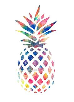 Watercolor Pineapple Colorful Art Print, Rainbow Colors, Kitchen Art Print…