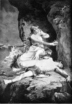 """Sigyn, Deity of the North. When Loki was bound in the cave as punishment for Baldur's Death, his wife Sigyn stood besides him, holding a bowl above his head to catch the venom of a snake the Goddess Skhadi had secured over his face. Whenever she had to empty the bowl, the poison would drip over Loki's body, causing him to writhe so violentlythat the planet shakes.  Loki is sometimes refered as """"The burden of Sigyn""""..."""