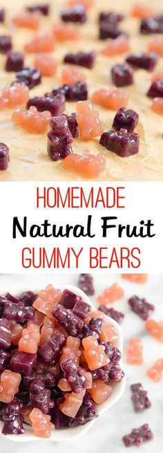 Gummy Bears or Fruit Snacks. Easy to make, naturally flavored and colored with fruit. Much healthier than store bought!Homemade Gummy Bears or Fruit Snacks. Easy to make, naturally flavored and colored with fruit. Much healthier than store bought! Homemade Gummies, Homemade Gummy Bears, Making Gummy Bears, Baby Food Recipes, Snack Recipes, Cooking Recipes, Healthy Recipes, Healthy Homemade Snacks, Snacks Ideas
