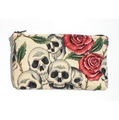 Day Dead / Dia De Los Muertos Skulls Roses Wallet/ Makeup Bag / Coin Purse