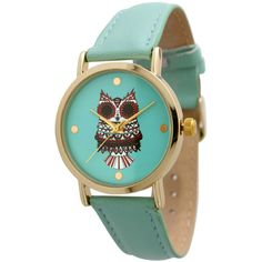 Olivia Pratt Batik Owl Leather Watch | Bluefly.Com ($25) ❤ liked on Polyvore featuring jewelry, watches, mint, leather watches, tri color jewelry, leather wrist watch, colorful jewelry and leather strap watches