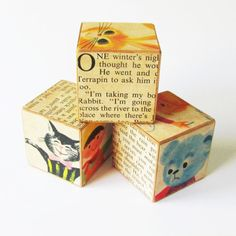 Primitive Wooden Blocks- Home Decor, Nursery Decoration- Nostalgic Storybook Cubes with Vintage Images- Handmade. $28.00, via Etsy.