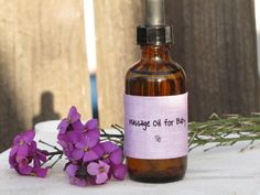 Baby Massage Oil: 1 tablespoon apricot kernel oil + ½ tablespoon olive oil + ½ tablespoon coconut oil + 5 to 10 drops lavender essential oil. Also provides alternatives for other baby care products such as diaper rash cream and baby shampoo.