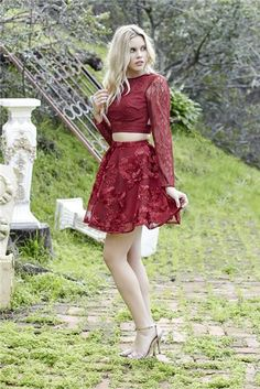 2017 homecoming dress, two piece short homecoming dress, burgundy lace homecoming dress, long sleeves homecoming dress