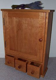 Surface mounted shaker style medicine cabinet with apothecary drawers Bathroom Cabinetry, Wood Bathroom, Bathroom Medicine Cabinet, Medicine Cabinets, Bathroom Ideas, Surface Mount Medicine Cabinet, Tiny Bathrooms, Solid Doors, Shaker Style