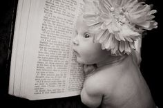 Newborn picture taken with GreatGrandmother's bible