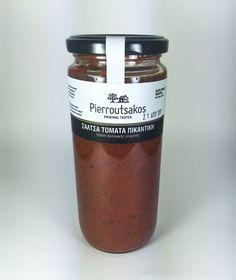 ''PIERROUTSAKOS'' Organic Spicy Tomato Sauce Candle Jars, Candles, Spicy Tomato Sauce, Greek, Organic, Products, Candle Mason Jars, Greek Language, Candy