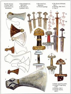 Viking/North Germanic style Sword hilts and Axe heads of the Migration Period-Viking Age. by corina Viking Life, Viking Art, Viking Warrior, Viking Sword, Viking Culture, Medieval Weapons, Norse Vikings, Fantasy Weapons, Dark Ages