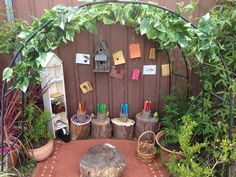 "The mud café at Puzzles Family Day Care has been temporarily changed into an Outdoor Gallery ("",) Outdoor Learning Spaces, Outdoor Play Areas, Outdoor Art, Eyfs Outdoor Area Ideas, Patio Ideas, Outdoor Activities, Backyard Ideas, Garden Ideas, Outdoor School"