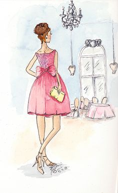 Join the style diary of a couture fashion illustrator as she delves into her love for fashion explores illustration, and shares her best techniques. Moda Fashion, Pink Fashion, Fashion Art, Fashion Women, Illustrator, Fashion Design Sketches, Sketch Fashion, Beautiful Sketches, Love Illustration
