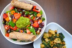 """Mixed baby greens salad with grape tomatoes, strawberries, carrots, beets, red onions, raw slivered almonds and topped with 3 tbsp. guacamole (from Trader Joe's).  1 flax & whole wheat tortilla with 3 tbsp. hummus.  Leftover tofu, kale and garbanzo bean """"stir fry."""""""