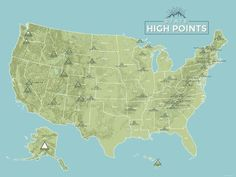 State High Points Map 18x24 Poster