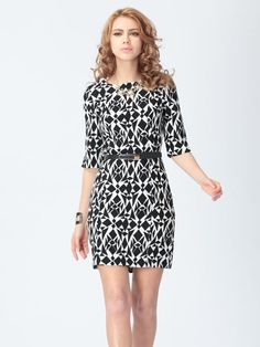 Geometric Pattern Half Sleeve Slim Dress