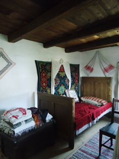 taken at Astra Village Museum in Sibiu, Romania Bedroom in a traditional romanian house