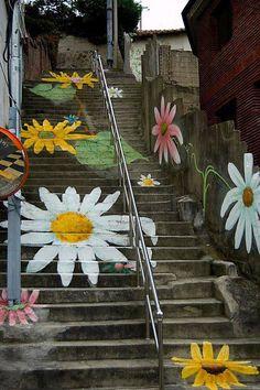 Painted stairway. Seoul, Korea