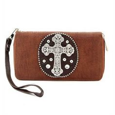 Dasein Rhinestone cross accent croco embossed checkbook wallet- Brown