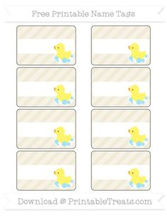 Free Eggshell Diagonal Striped Baby Duck Name Tags