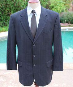 Jos A Bank Blazer Sport Coat size 44L Wool Cashmere Pinstripe 3 Btn Navy Blue #JosABank #ThreeButton