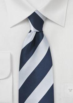 Krawatte Streifen navyblau perlweiß