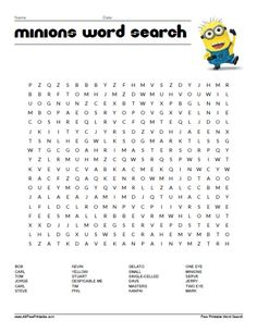 Free Printable Minions Word Search