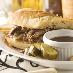 French Dip Sandwich -- Use Polaner Chopped Garlic for a quicker prep time! - polanerspreads.com #sandwich #garlic #recipe