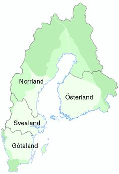 A map of Sweden and Finland, with the ancient region Norrland marked - not to be confused with the current region Norrland.