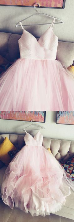 A-Line Spaghetti Straps Pink Long Prom/Evening Dress #promdresses #longpromdresses #pinkpromdresses #eveningdresses #longeveningdresses