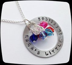 SALE Nanas Little Blessings, HandStamped Jewelry, Mommy Necklace, Grandma Gift, Mom Gift, Christmas Present