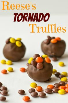 Reese's Tornado Truffles on MyRecipeMagic.com {Tastes of Lizzy T} A tornado of Oreos, cream cheese, Reese's peanut butter cups and Reese's Pieces!