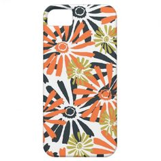 Modern Daisy Blue Orange and Lime Flowers iPhone 5 Case