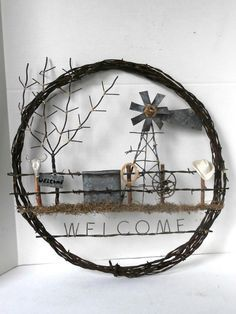 Barb Wire Wreath Western Theme Welcome Sign by MustangRescue Saloon Western, Western Theme, Western Decor, Cowboy Theme, Barbed Wire Wreath, Barbed Wire Art, Barb Wire Crafts, Metal Crafts, Diy Crafts
