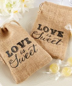 FAVORS?    Look what I found on #zulily! 'Love Is Sweet' Burlap Drawstring Favor Bag - Set of 12 #zulilyfinds