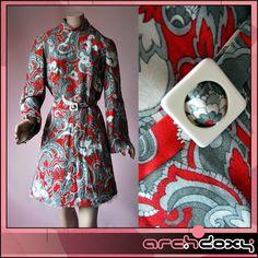 Vintage 1960s Bell Sleeve MOD Wool Paisley Shift Red & Grey Scooter Dress #vintage #mod  http://www.ebay.co.uk/itm/Vintage-1960s-Bell-Sleeve-MOD-Wool-Paisley-Shift-Red-Grey-Scooter-Dress-UK14-/371594800569?ssPageName=STRK:MESE:IT