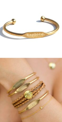 "Uhhh, I can has? Engraved, gold ""Explore"" bracelet."
