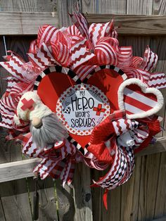 Excited to share this item from my #etsy shop: Scrubs Wreath- Nurses Wreath - Doctor Wreath- My Hero Wears Scrubs Wreath - Support Medical Personal Wreath- Nurse Gnome Wreath- Gnome #nurse #doctor #gnome #scrubs #medical #hero #heart #physican #phd #clinic #hospital #etsy #red #gifts #wreath #door #google #holidazedecor #holidaze #instagood #pin