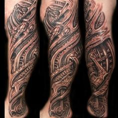 Realistic 3D Biomechanical Leg Tattoo for Men | Cool Tattoo Designs
