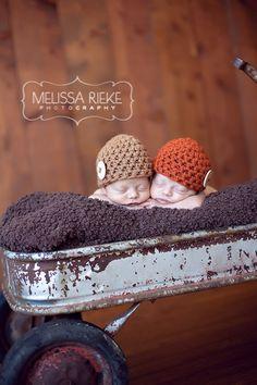 Twin Newborn Baby Button Beanie Hats Orange by BeautifulPhotoProps, $42.00