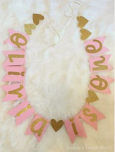 Lindsay's Sweet World: Pink and gold first birthday party - table banner | Pink and Gold Birthday Party