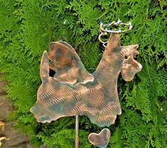 SCOTTISH TERRIER Art / Outdoor Garden Plant Stake Decor / Metal Copper Yard Art / Angel Dog / Pet Memorial / Handmade / Patina Finish