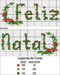 Arte Índia: Gráficos de Ponto Cruz - Natal Butterfly Cross Stitch, Cross Stitch Alphabet, Christmas Cross, Jingle Bells, Crochet Projects, Needlework, Gardening, Advent Calendar, Scrapbooking
